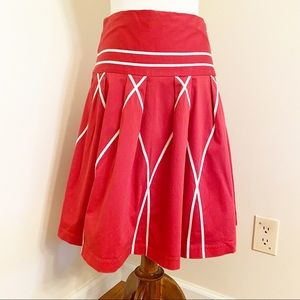 Anthropologie Sitwell Red & White Pleated Skirt 4